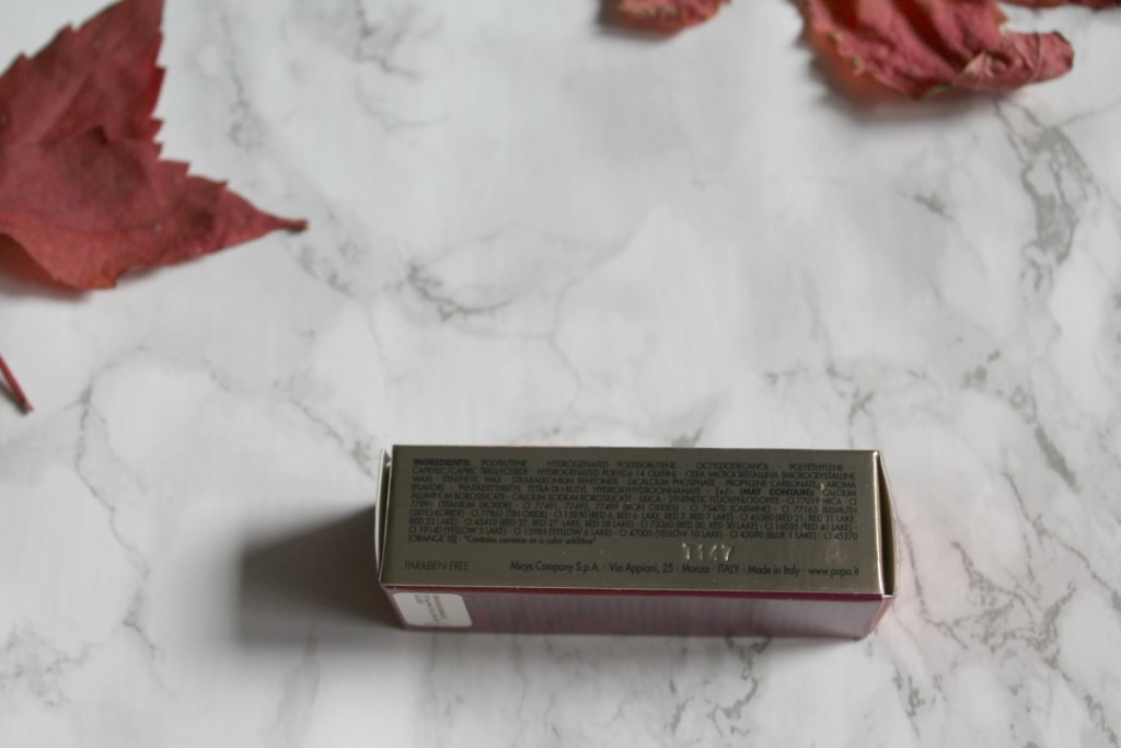 pupa_velvet-garden_312burgundy-poppy_lipstick_ingredients_beautyinfiveminutescom